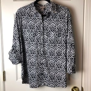 White Stag Blouse Size Lg 12/14 Button Front